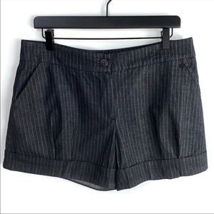 Trina Turk Lg Grey Winter Pinstripe Cuffed Shorts